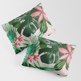 Tropical palm leaf with red flowers Pillow Sham