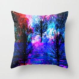 NEBULA TREES FANTASY OCEAN DREAMS Throw Pillow