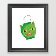 Green cat head luminary Framed Art Print