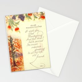Thanksgiving postcards 319 Apple  I wish you glad Thanksgiving and feel tha I have penned... Stationery Cards