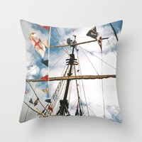 pirate ship Throw Pillows featuring Pirate Ship by For the easily distracted...