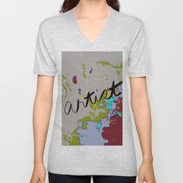 Artist Drop Cloth in dark red, gray, green, blue Unisex V-Neck