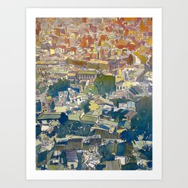 From the Acropolis - Watercolor and Ink on Paper - 2012 Art Print