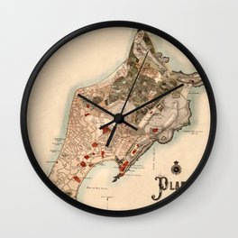Map Of Macau 1899 Wall Clock