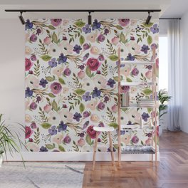 Violet pink yellow green watercolor modern floral pattern Wall Mural