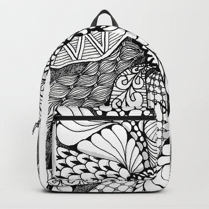Zentangle Black and White Summer Sunflower Backpack