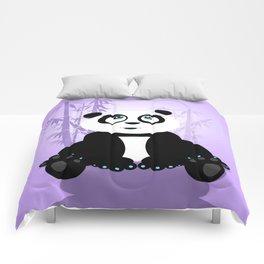 Panda Girl - Purple Comforters