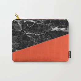 Black marble and flame color Carry-All Pouch