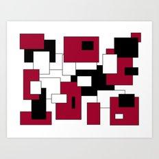 Squares - purple, black and white. Art Print