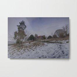 Boughton Church In Winter Metal Print