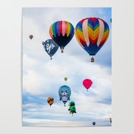 Cute seal, Wolf and Penguin Hot Air Ballons Poster