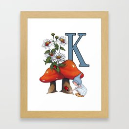 Initial Letter K, Toadstools, Gnome Girl with Ladybug and Daisies Framed Art Print