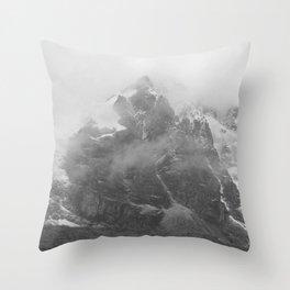 Rocky Mountain Fog B&W Throw Pillow