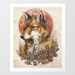 Fire Fox Spirit  Art Print
