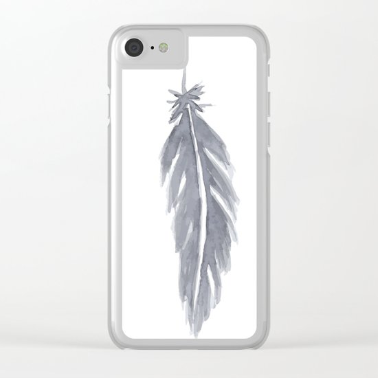 Black watercolor feathers Clear iPhone Case