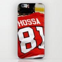 blackhawks iPhone & iPod Skins featuring marian hossa // chicago blackhawks by Hattie Trott