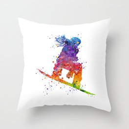 Girl Snowboarding 5 Colorful Watercolor Artwork Winter Sports Gift Throw Pillow