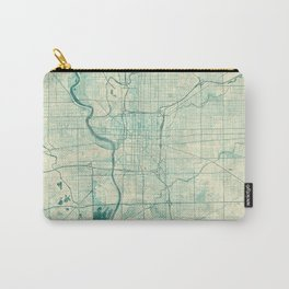 Indianapolis Map Blue Vintage Carry-All Pouch