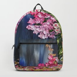 Pink Flowers Painting, Knife Oil Painting, Modern Floral Art, blue and white, Pink flowers on blue, Backpack