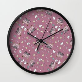 Teatime Spider - Pink Wall Clock