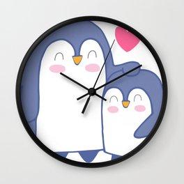 Cute Penguin Love Wall Clock