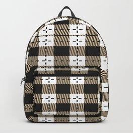 Plaid White And Black Lumberjack Flannel Backpack