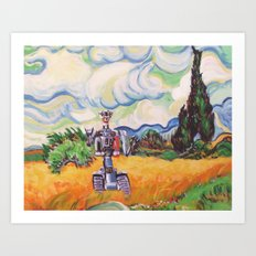 Wheat Field with Johnny 5 Art Print