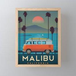 Vintage Airline Travel Poster - Malibu Framed Mini Art Print