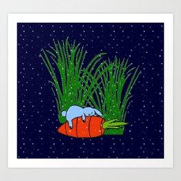 Bonne nuit petit lapin bleu  Art Print
