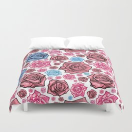 Beautiful Blue and Pink Rose Pattern Duvet Cover