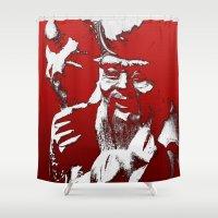 shih tzu Shower Curtains featuring Lao Tzu by Kip Sikora