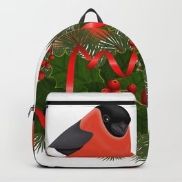 Bullfinch birds on fir tree branches Backpack