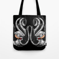 robocop Tote Bags featuring Robocop swallows by Andrew Mark Hunter