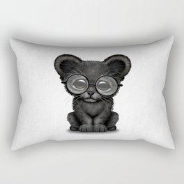 Cute Baby Black Panther Cub Wearing Glasses Rectangular Pillow
