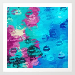 blue and pink kisses lipstick texture abstract background Art Print