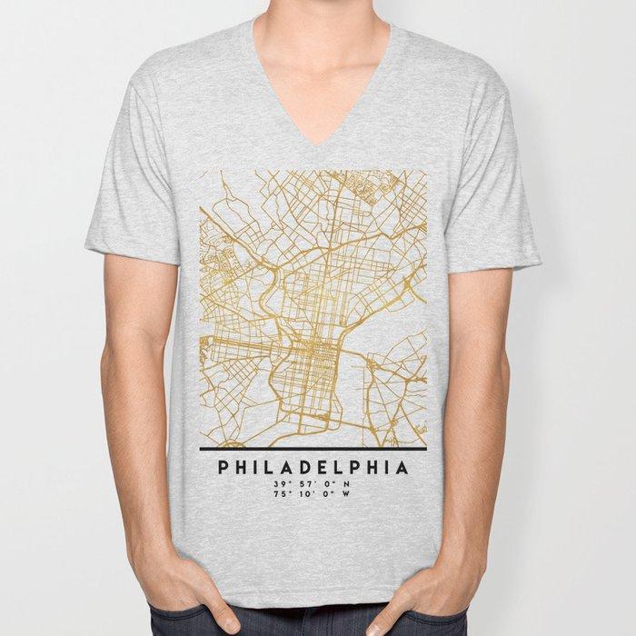 PHILADELPHIA PENNSYLVANIA CITY STREET MAP ART Unisex V-Neck