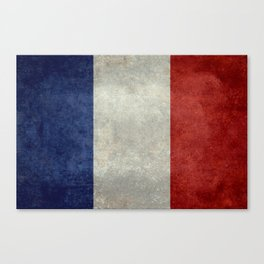 Flag of France, vintage retro style Canvas Print