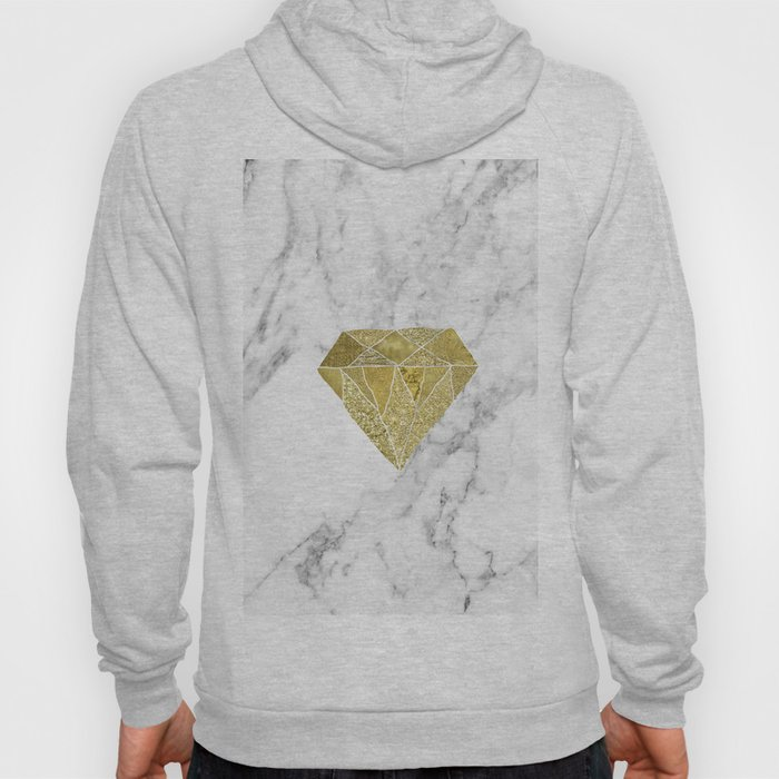 Gold diamond on marble Hoody
