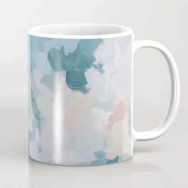 Mint Green Sky Blue Teal Blush Pink Abstract Nature Flower Wall Art, Spring Blossom Painting Coffee Mug