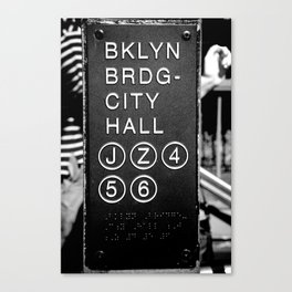 Brooklyn Bridge Subway Sign Canvas Print