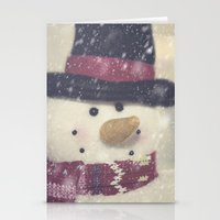 snowman Stationery Cards featuring Snowman by Photography and Fine Art by Pamela