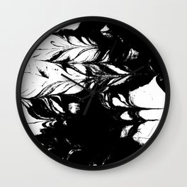 Marble black and white 3 Suminagashi watercolor pattern art pisces water wave ocean minimal design Wall Clock