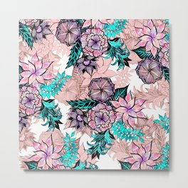 Girly Watercolor and Rose Gold Floral Illustration Metal Print