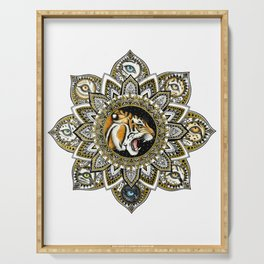 Black and Gold Roaring Tiger Mandala With 8 Cat Eyes Serving Tray