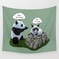 panda Wall Tapestries featuring Panda by Tummeow