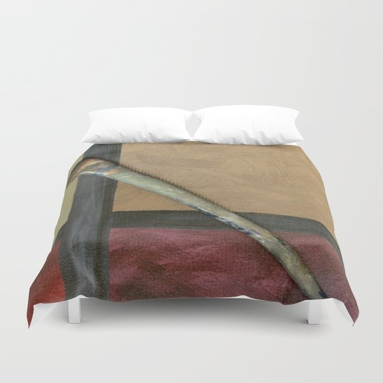 Artist Brush On Abstract Copper Canvas Artwork - Vintage - Modern Art - Painter Duvet Cover