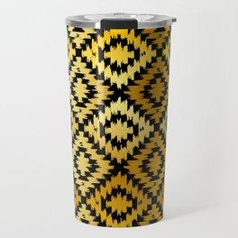 Turkish carpet gold black. Patchwork mosaic oriental kilim rug Travel Mug