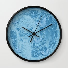 Ghostly alpaca with butterflies in snorkel blue Wall Clock