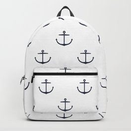 Yacht style. Anchor. Navy blue & white. Backpack