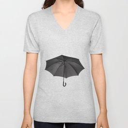 black umbrella with curved handle Unisex V-Neck